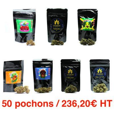 Pack Mix 50 pochons fleurs CBD grossiste